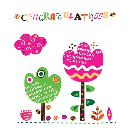 congratulations collage inspired floral design Illustration