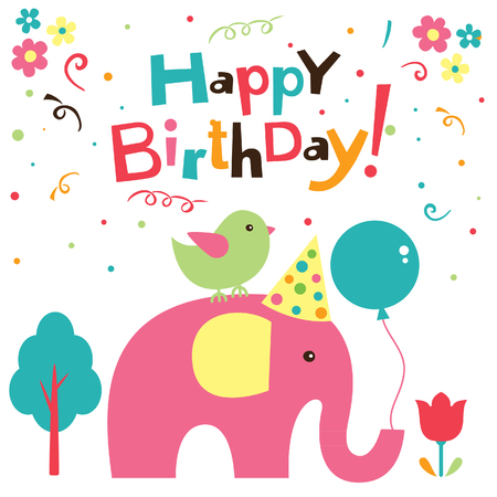 happy birthday balloons: birthday elephant design