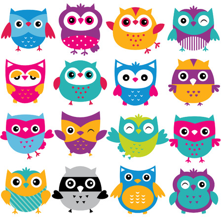 cutesy owls clip art set 矢量图像
