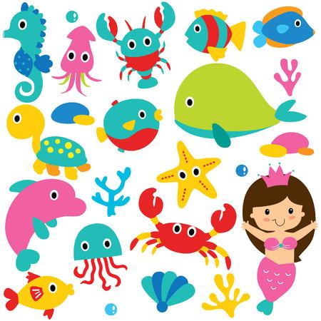 clip art: carino animali marini set clip art Vettoriali