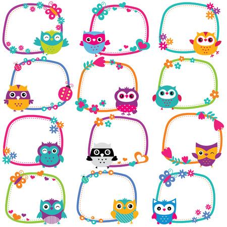cute owl frames clip art set Vector