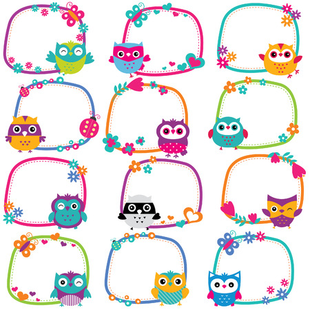 animals frame: cute owl frames clip art set
