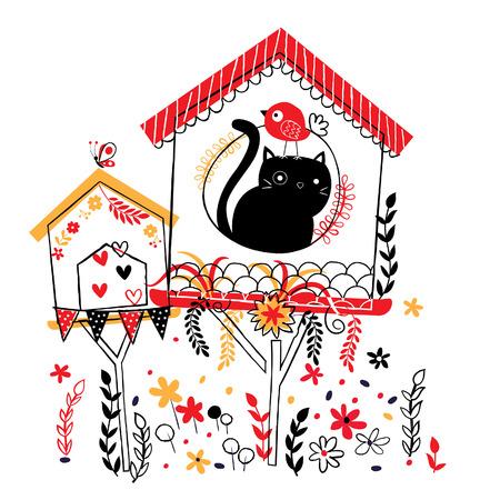 bird house illustration