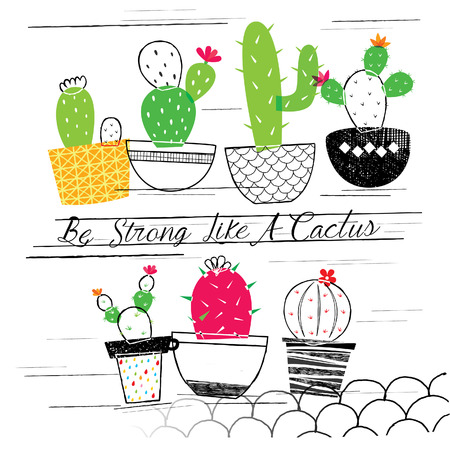 cactus flower: cactus garden illustration