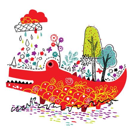 crocodile nature illustration Illustration