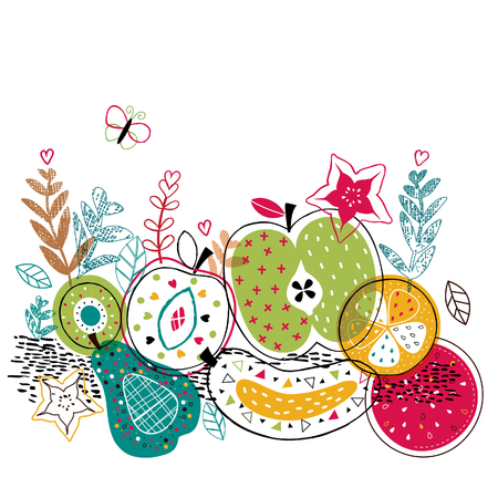 mix fruits illustration 免版税图像 - 39466671