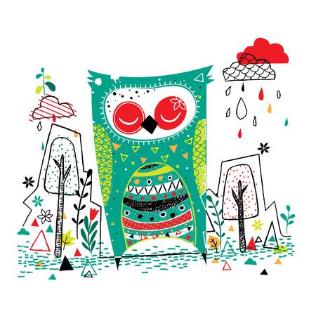 owl garden illustration Illustration