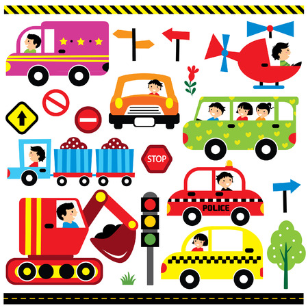 vehicles with driver clip art set 矢量图像