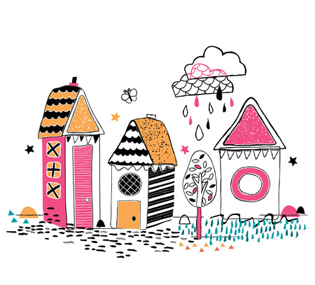 artistic hand drawn houses