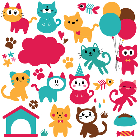 cats lover clip art set 矢量图像