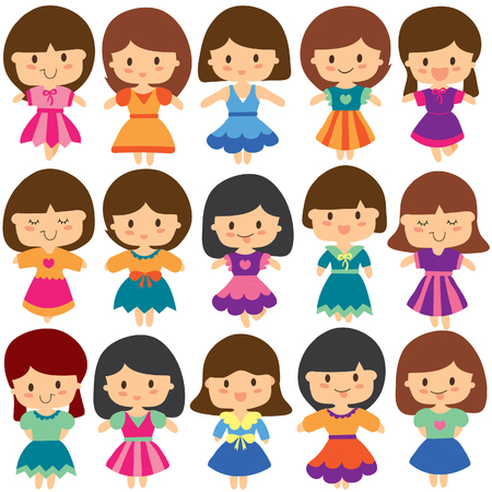 pretty girls clip art set