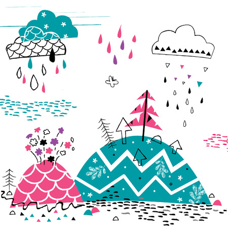 mountain rain illustration 矢量图像