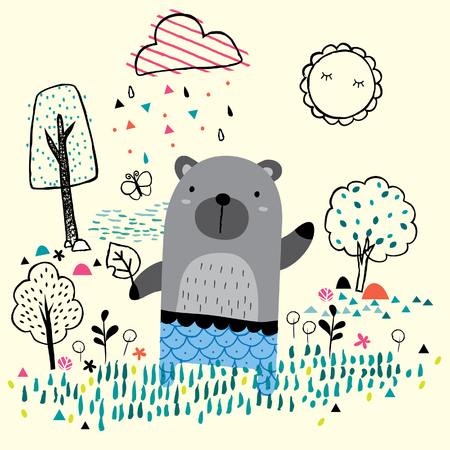 garden bear illustration 免版税图像 - 43946188