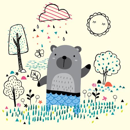 garden bear illustration