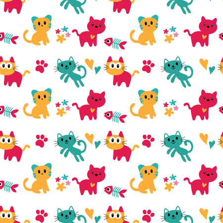 seamless kitten wallpaper design 矢量图像