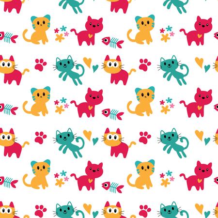 seamless kitten wallpaper design Illustration