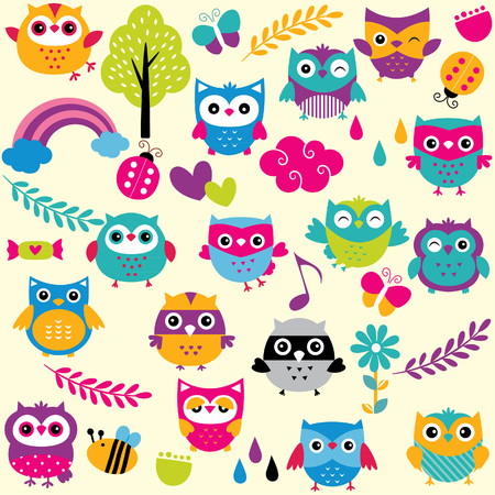 young bird: owls and elements clip art set Illustration