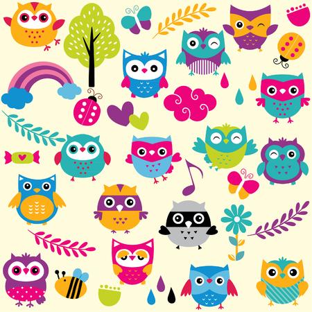 sticker: owls and elements clip art set Illustration