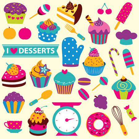 themed: cupcakes elements clip art set