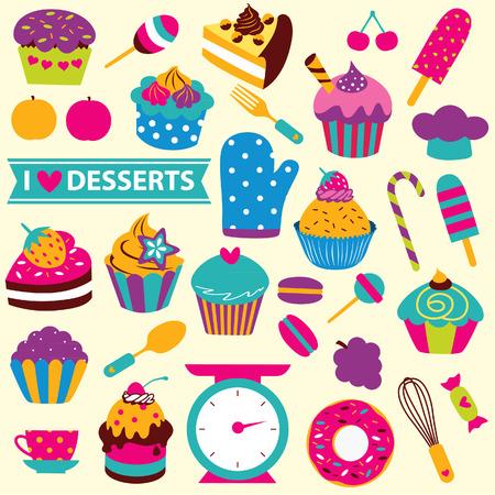 cupcakes elements clip art set