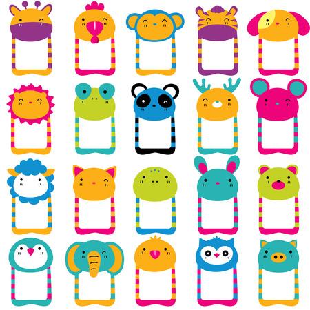bebe a bordo: animales lindos clip de la cabeza conjunto del arte Vectores