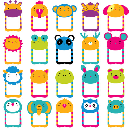 cute animals head clip art set