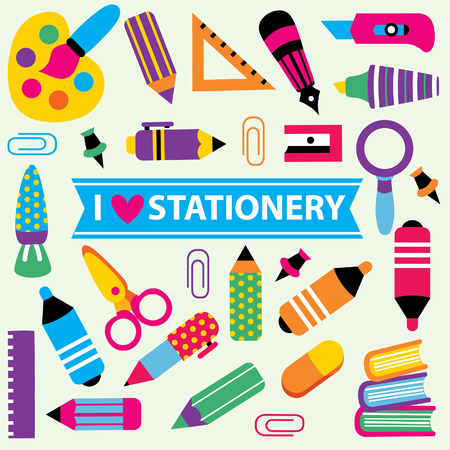stationery clip art set 矢量图像