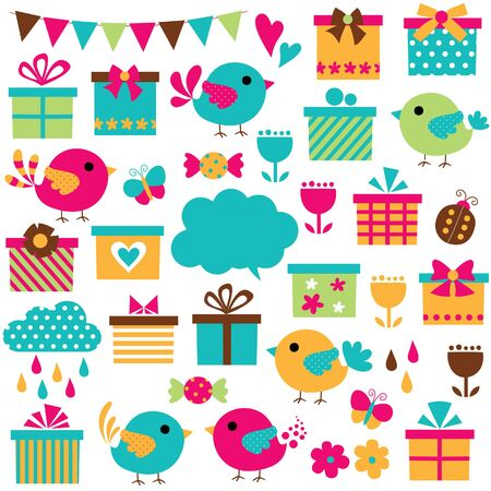 birds and gifts clip art set