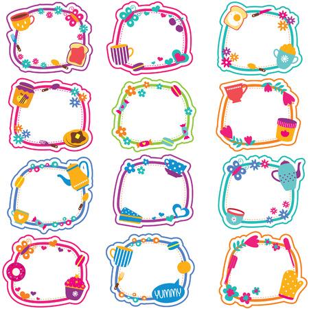 clip art: tea time frames clip art set Illustration