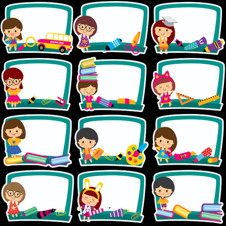 escuela primaria: pizarra enmarca conjunto de imágenes prediseñadas