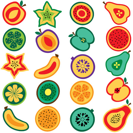 cut fruits clip art set