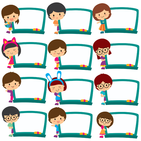 kindergarden: kids board frames clip art set
