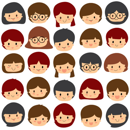 children faces clip art set 矢量图像