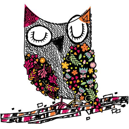 boceto: búho Ilustración floral Vectores