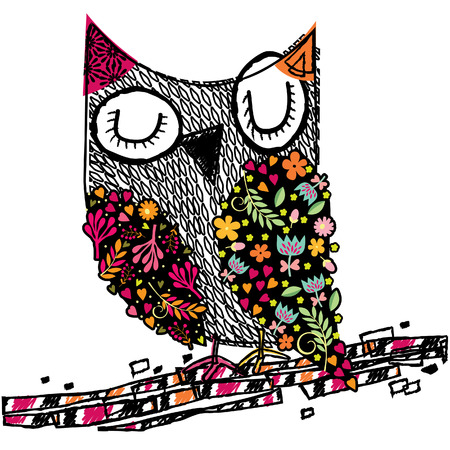 owl floral illustration Stock fotó - 45199422