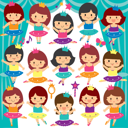 ballerina kids clip art set