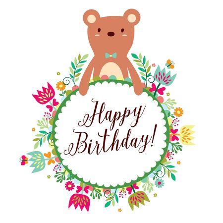 flor caricatura: oso Marcos del diseño floral, disponible en 4 estilo de diseño