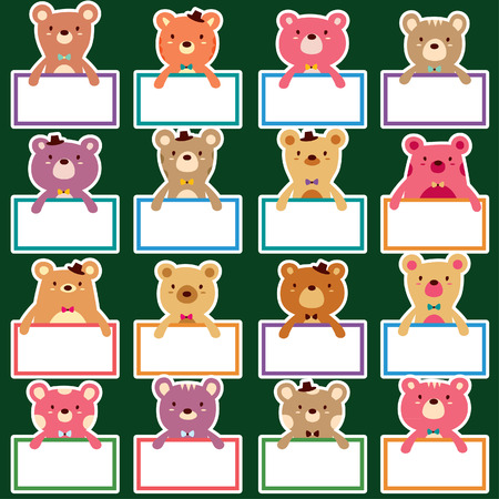 cute teddy bear: bear text boards set