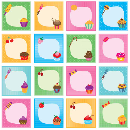clip arts: cupcake frames set Illustration