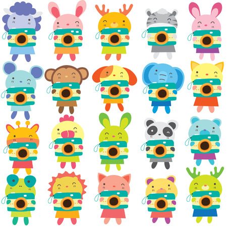 mix animals camera clip art set 矢量图像