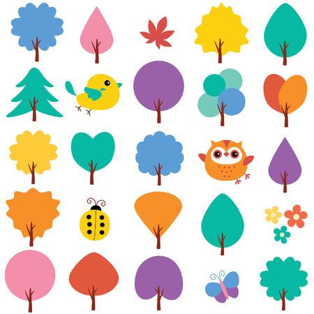 silhouette fleur: arbres au printemps clip art ensemble