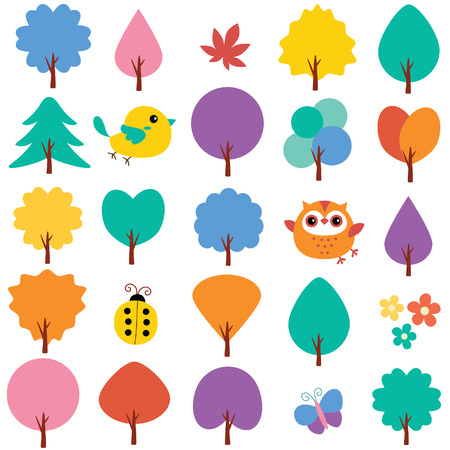 trees in spring clip art set