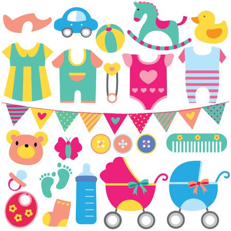 cute teddy bear: baby objects clip art set