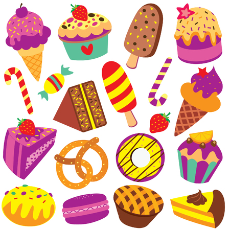 colorful desserts clip art set Stock Vector - 47667443