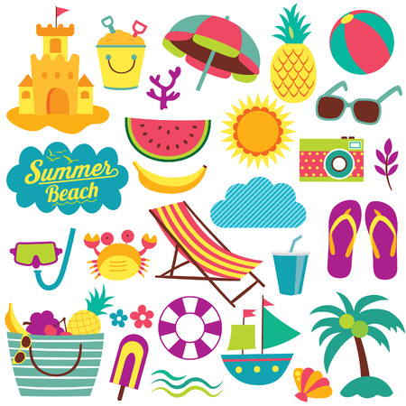 beach: summer day elements clip art set