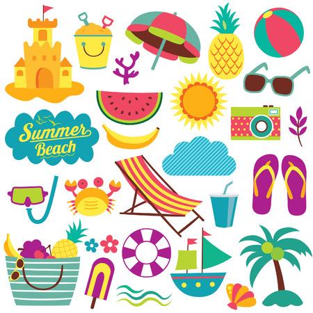 strandstoel: zomerdag elementen illustraties set Stock Illustratie