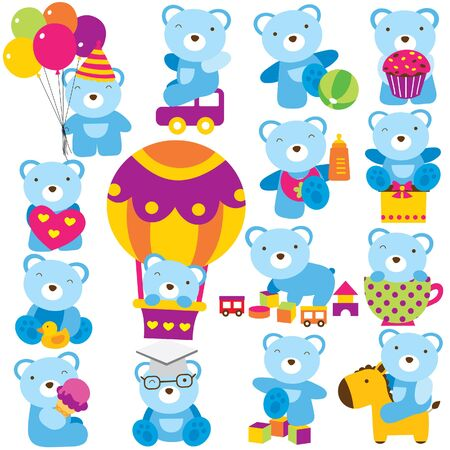 teddybear: baby teddy clip art set