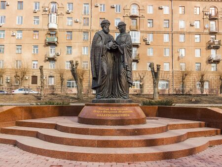 prince of peace: The monument to the Holy right-believing Peter and Fevronia of Murom. Is Russia, Volgograd, Central district, embankment of the Volga flotilla. April 2015