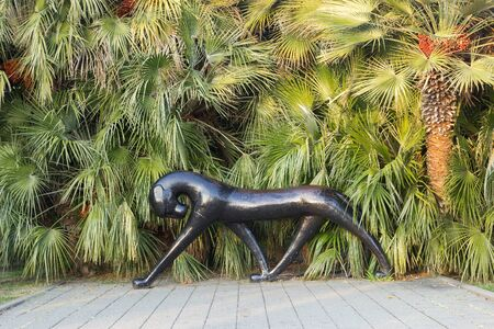 SOCHI, RUSSIA - November 06, 2016: A sculpture the Wild black cat outdoors, it is established on the Embankment. Sochi, Russia