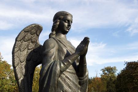 VOLGOGRAD, RUSSIA - October 14, 2015: The sculpture the Guardian angel holds palms contain, Sasha Filipovs park, Volgograd, Russia is established Editorial